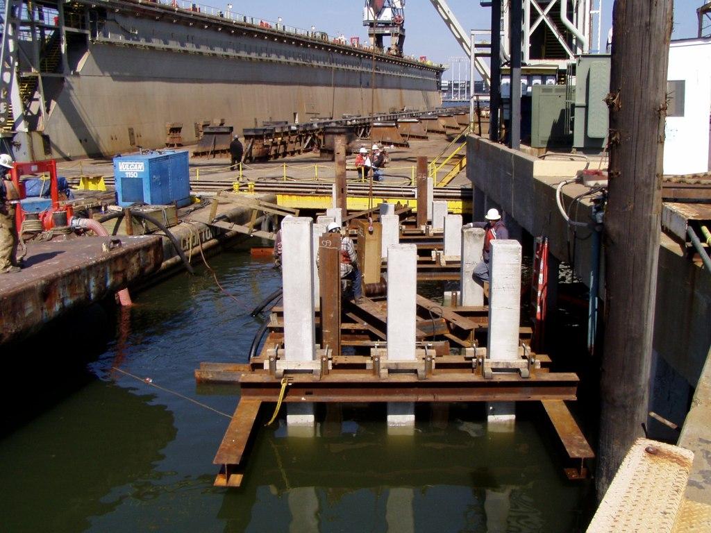 dry dock access concrete bridge and ramp