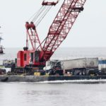Crofton Diving performs salvage of tractor trailer off the the Chesapeake Bay Bridge Tunnel.